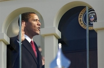 Barack Obama takes the oath of office to become the 44th president of the United States in Washington, Tuesday, Jan. 20, 2009.