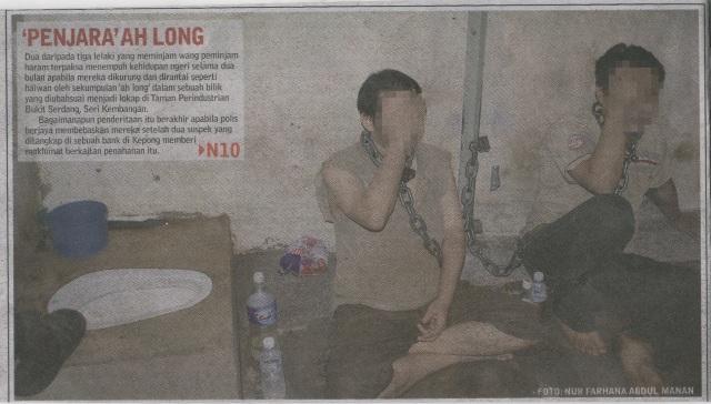 dirantai,diseksa dan dipenjara oleh ah long