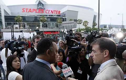 Rev. Jesse Jackson speaks to the media outside the Staples Center before the Michael Jackson memorial in Los Angeles, Tuesday, July 7, 2009. - AP - 7 July, 2009
