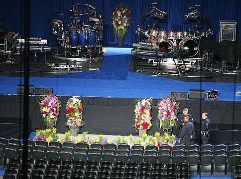 Los Angeles Police officers check the stage area before the memorial service for Michael Jackson at Staples Center in Los Angeles on Tuesday morning, July 7, 2009. - AP - 7 July, 2009