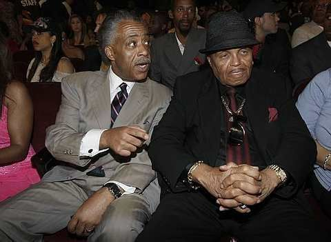Joe Jackson, right, father of the late pop star Michael Jackson, and Rev. Al Sharpton are seen at the 9th Annual BET Awards on Sunday. - 29 June, 2009